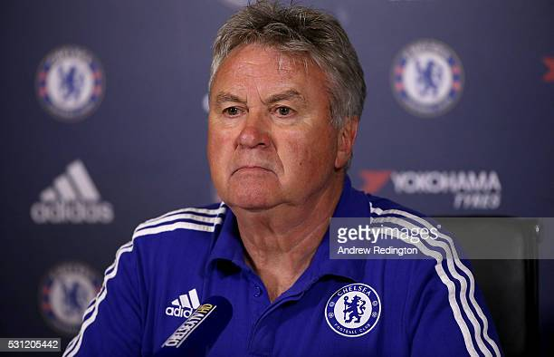 Guus Hiddink, the Chelsea manager, is pictured during a press conference at Chelsea Training Ground on May 13, 2016 in Cobham, England.