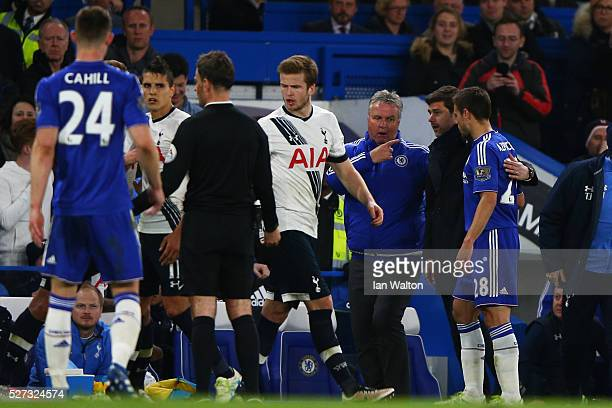Guus Hiddink the interim manager of Chelsea and Mauricio Pochettino the manager of Tottenham Hotspur acts as peace makers after one of numerous...