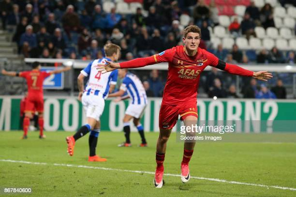 *Guus Til* of AZ Alkmaar celebrates 11 during the Dutch Eredivisie match between SC Heerenveen v AZ Alkmaar at the Abe Lenstra Stadium on October 29...