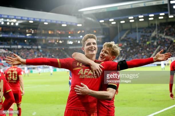 *Guus Til* of AZ Alkmaar celebrates 12 with *Fredrik Midtsjo* of AZ Alkmaar during the Dutch Eredivisie match between SC Heerenveen v AZ Alkmaar at...