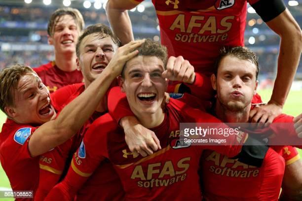 Guus Til of AZ Alkmaar celebrates 12 with Jonas Svensson of AZ Alkmaar Teun Koopmeiners of AZ Alkmaar Thomas Ouwejan of AZ Alkmaar Wout Weghorst of...