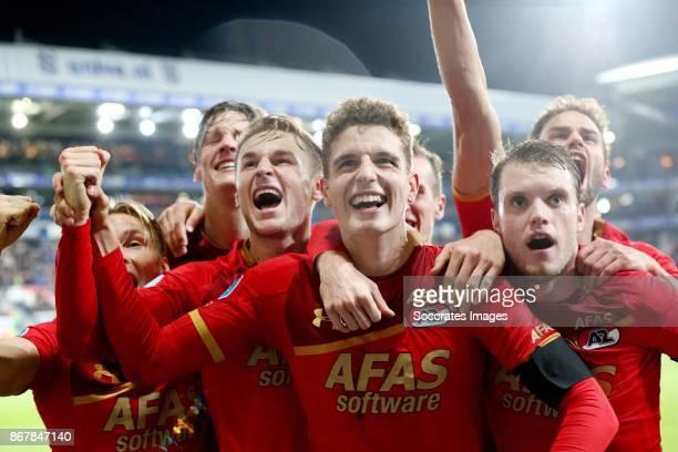 Guus Til* of AZ Alkmaar celebrates 1-2 with *Jonas Svensson* of AZ Alkmaar, *Wout Weghorst* of AZ Alkmaar, *Teun Koopmeiners* of AZ Alkmaar,...
