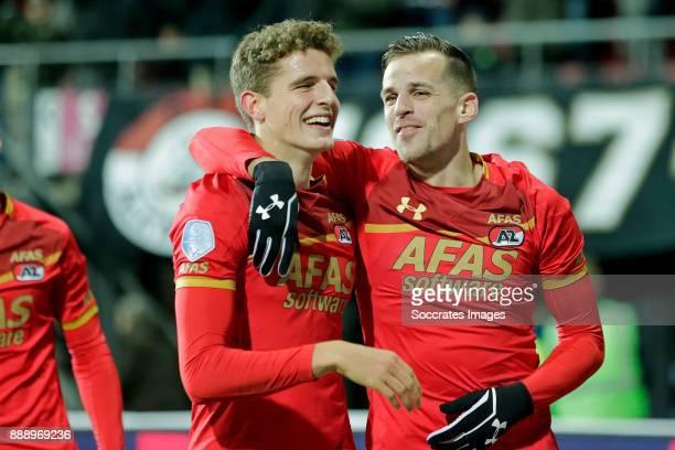 Guus Til of AZ Alkmaar celebrates 20 with Mats Seuntjens of AZ Alkmaar during the Dutch Eredivisie match between AZ Alkmaar v Heracles Almelo at the...