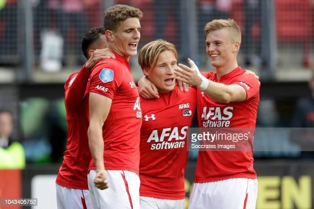 Guus Til of AZ Alkmaar celebrates 21 with Adam Maher of AZ Alkmaar Albert Gudmundsson of AZ Alkmaar Jonas Svensson of AZ Alkmaar during the Dutch...