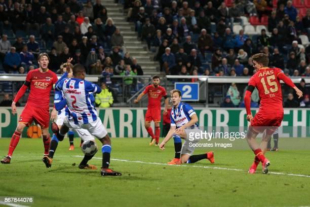 *Guus Til* of AZ Alkmaar scores his side's first goal to make it 11 during the Dutch Eredivisie match between SC Heerenveen v AZ Alkmaar at the Abe...