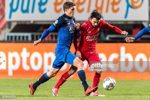 Guus Til of AZ Cristian Cuevas of FC Twente during the Dutch Eredivisie match between FC Twente Enschede and AZ Alkmaar at the Grolsch Veste on...