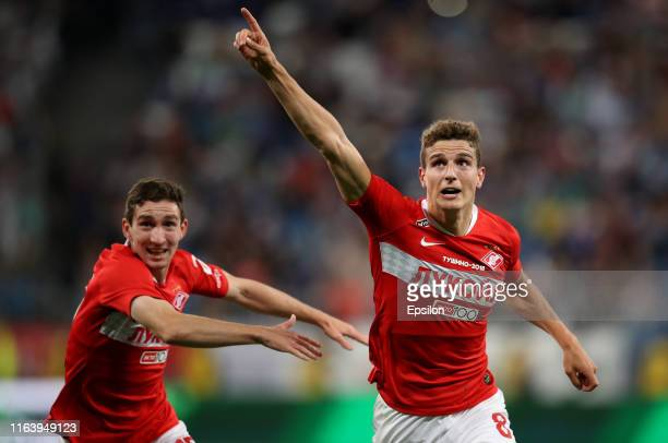 Guus Til of FC Spartak Moscow celebrates his goal during the Russian Football League match between PFC FC Krylia Sovetov Samara and FC Spartak Moscow...