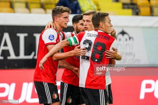 Guus Til of Feyenoord, Alireza Jahanbakhsh of Feyenoord, Marcus Holmgren Pedersen of Feyenoord, Jens Toornstra of Feyenoord celebrate the 2-1 during...