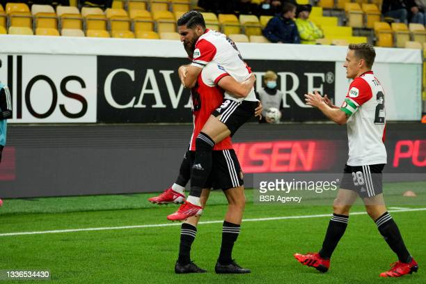 Guus Til of Feyenoord celebrate first Feyenoord goal of the evening during the UEFA Conference League match between IF Elfsborg and Feyenoord at...