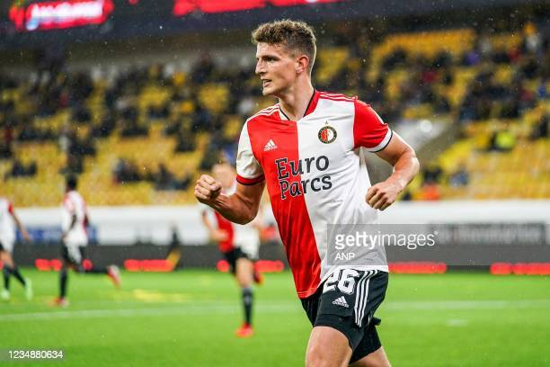 Guus Til of Feyenoord celebrates 2-1 during the UEFA Conference League play-offs match between IF Elfsborg and Feyenoord at the Boras Arena on August...