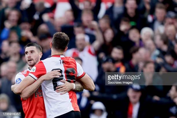 Guus Til of Feyenoord celebrates 2-2 with Marcos Senesi of Feyenoord during the Dutch Eredivisie match between Feyenoord v RKC Waalwijk at the...