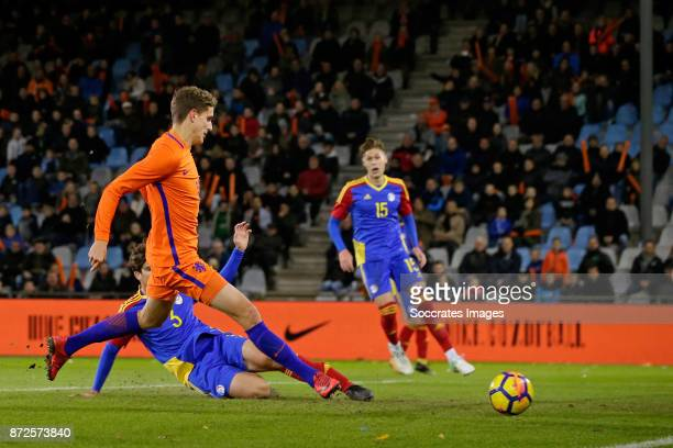 Guus Til of Holland U21 scores the first goal to make it 10 during the match between Holland U21 v Andorra U21 at the De Vijverberg on November 10...