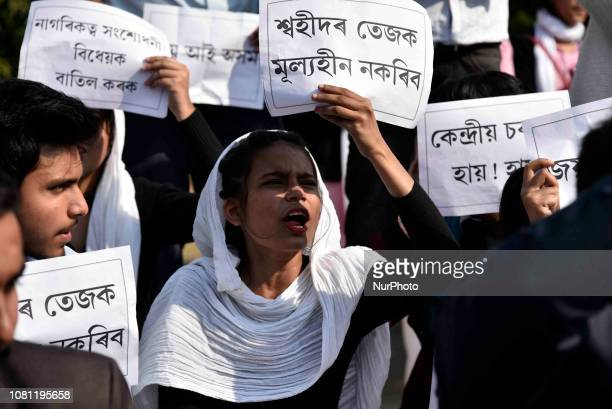 Guwahati Commerce College students stage a protest and raised slogan against Citizenship Bill 2016 in Guwahati Assam India on Friday January 11 2019...
