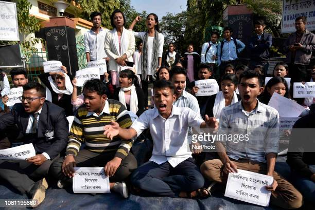 Guwahati Commerce College students stage a protest and raised slogan against Citizenship Bill, 2016 in Guwahati, Assam, India on Friday, January 11,...