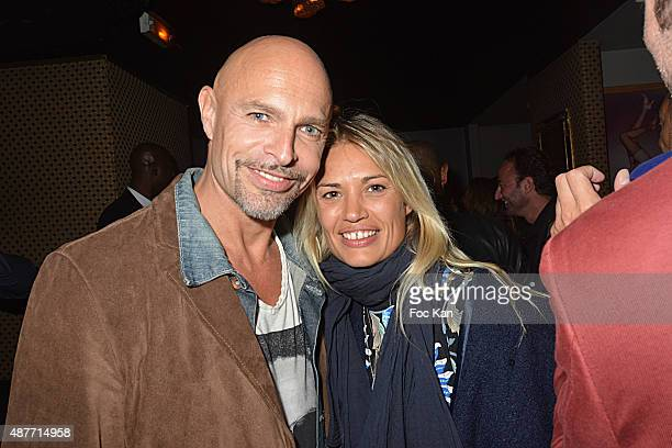 Guy Amram and Nikita Lespinasse attend 'the Mathieu Tordjman Birthday Party at the Cha Cha on September 10, 2015 in Paris, France.