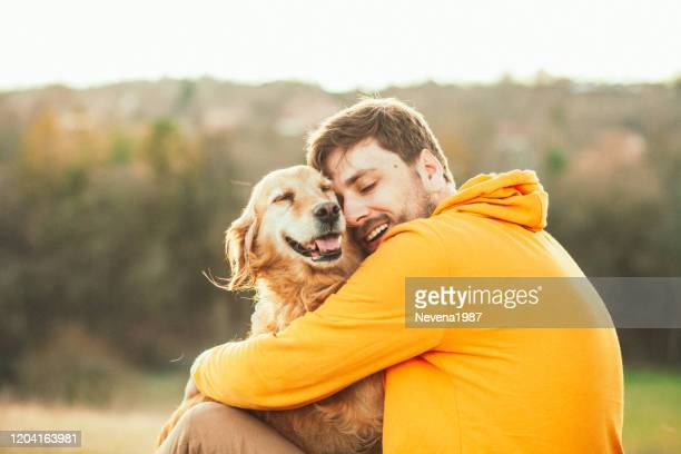 guy and his dog, golden retriever, nature - dogs stock pictures, royalty-free photos & images