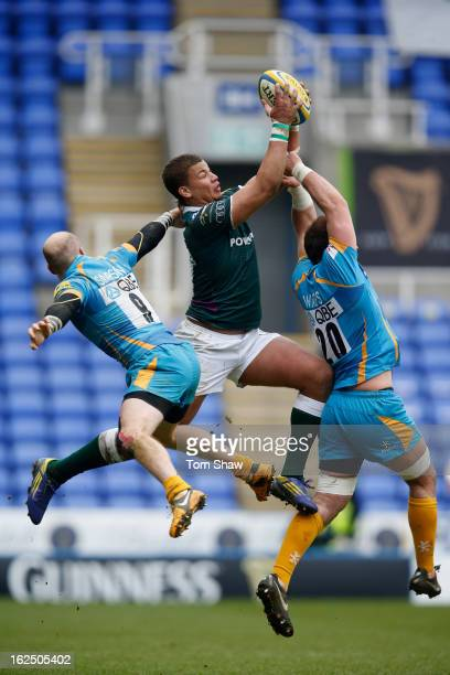 Guy Armitage of Irish jumps for a high ball during the Aviva Premiership match between London Irish and London Wasps at Madejski Stadium on February...