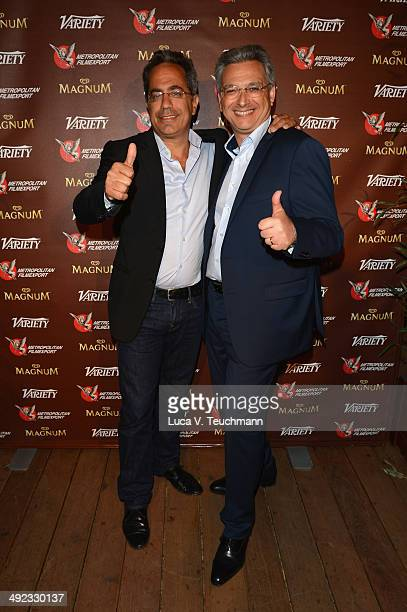 Guy Avshalom and Victor Hadida attend the Metropolitan Filmexport 35th Anniversary Party at Magnum Beach on May 19 2014 in Cannes France