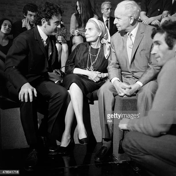 Guy Beart Elsa Triolet Louis Aragon and Raoul Sangla during the shooting of the Welcome program
