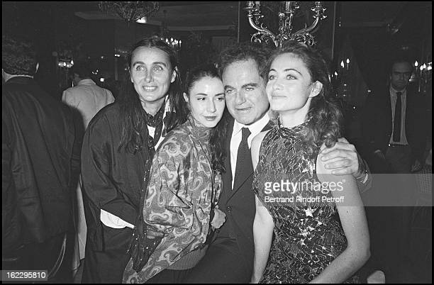Guy Beart his wife Genevieve Galea and his daughters Emmanuelle and Eve at Manon des Sources premiere in 1986
