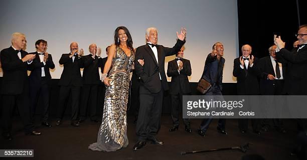 "Guy Bedos, Albert Dupontel, Barbara Gandolfi, Jean-Paul Belmondo, Samy Naceri and Thierry Fremaux attend the ""Tribute to Jean-Paul Belmondo"" during..."
