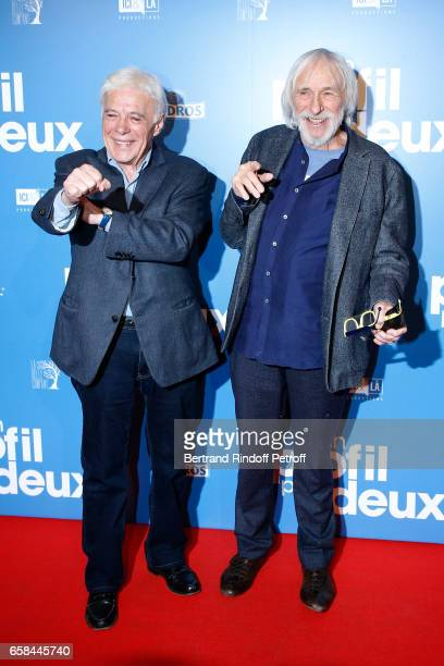 Guy Bedos and actor of the movie Pierre Richard attend the Un profil pour deux Paris Premiere at Cinema UGC Normandie on March 27 2017 in Paris France