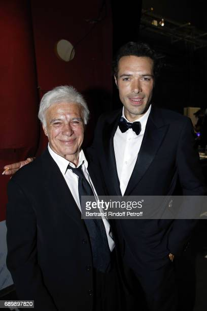 Guy Bedos and Nicolas Bedos attend 'La Nuit des Molieres 2017' at Folies Bergeres on May 29 2017 in Paris France