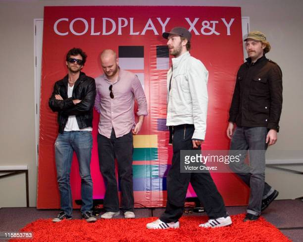 Guy Berryman Jon Buckland Will Champion and Chris Martin of Coldplay