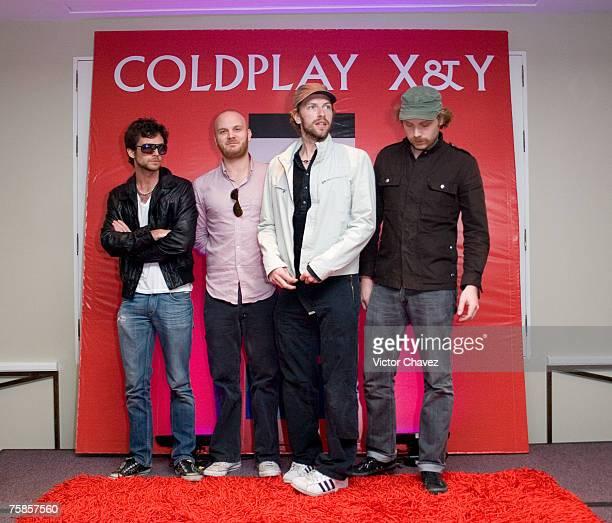 Guy Berryman Jon Buckland Will Champion and Chris Martin of Coldplay