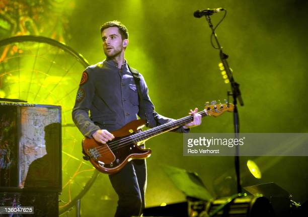 Guy Berryman of Coldplay performs at Ahoy on December 17 2011 in Rotterdam Netherlands
