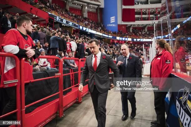 Guy Boucher head coach of Ottawa Senators during the 2017 SAP NHL Global Series match between Ottawa Senators and Colorado Avalanche at Ericsson...