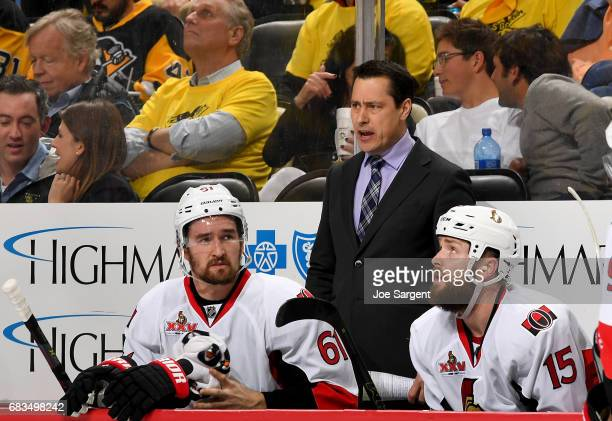 Guy Boucher of the Ottawa Senators looks on against the Pittsburgh Penguins in Game Two of the Eastern Conference Final during the 2017 NHL Stanley...