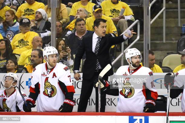 Guy Boucher of the Ottawa Senators shouts against the Pittsburgh Penguins during the third period in Game One of the Eastern Conference Final during...