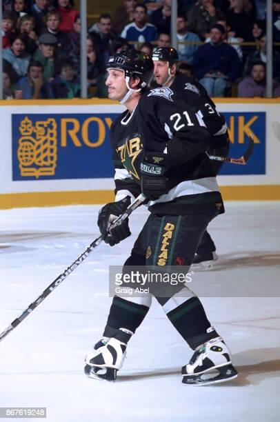 Guy Carbonneau of the Dallas Stars skates against the Toronto Maple Leafs during NHL game action on December 9 1995 at Maple Leaf Gardens in Toronto...