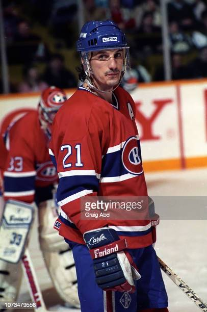 Guy Carbonneau of the Montreal Canadiens skates against the Toronto Maple Leafs during NHL game action on December 9 1989 at Maple Leaf Gardens in...