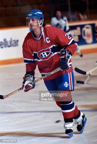 Guy Carbonneau of the Montreal Canadiens skates against the Toronto Maple Leafs during NHL game action on January 27 1990 at Maple Leaf Gardens in...