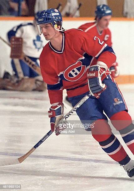 Guy Carbonneau of the Montreal Canadiens takes warmup prior to a game against the Toronto Maple Leafs on December 7 1985 at Maple Leaf Gardens in...