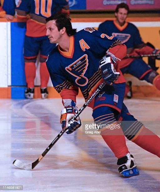 Guy Carbonneau of the St Louis Blues skates against the Toronto Maple Leafs during NHL game action on February 18 1995 at Maple Leaf Gardens in...