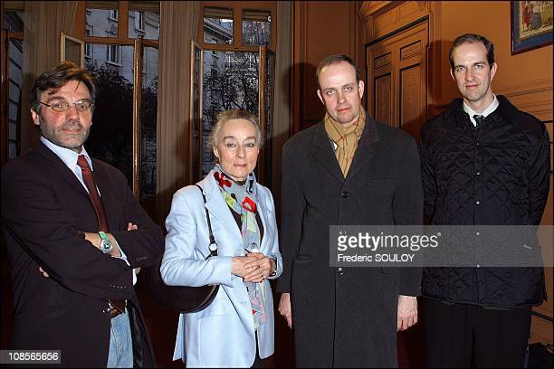 Guy Cochard Duchesse d'Harcourt HRH Prince Jean of France and HRH Prince Eudes of Orleans at the opening of the 8th exhibition of work at the Mairie...