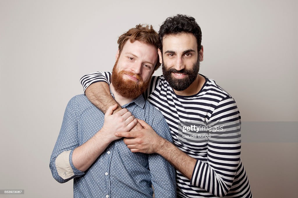 Guy couple hugging and smiling : Stock Photo