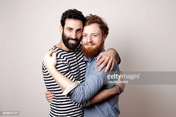Guy couple hugging