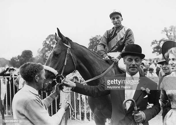Guy De Rothschild The Owner Of The Filly Timandra And His Wife Marie Helene Leading The Horse And Its Jockey To The Weighing Scales After The Horse...
