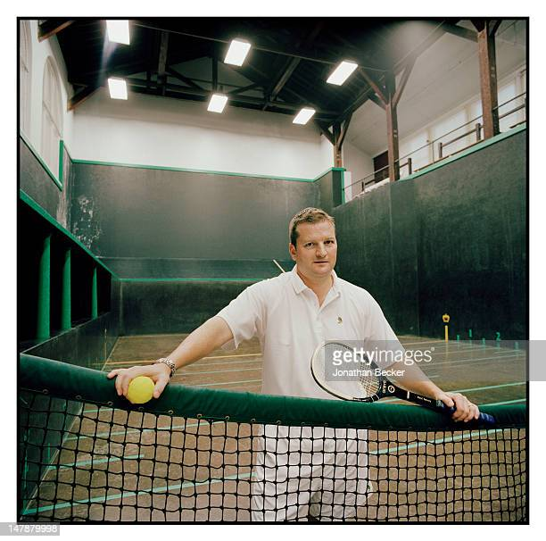 Guy Devereux, two-time champion of the Tuxedo Gold Racquet is photographed for Town & Country Magazine on September 8, 2011 in Tuxedo Park, New York....