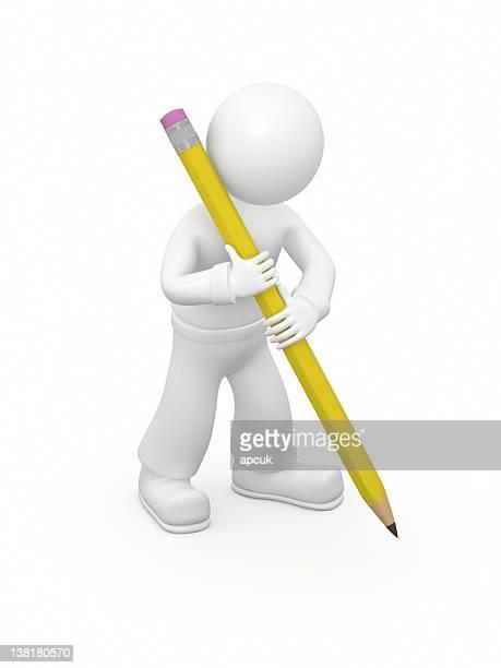 3 D Homme dessin crayon.
