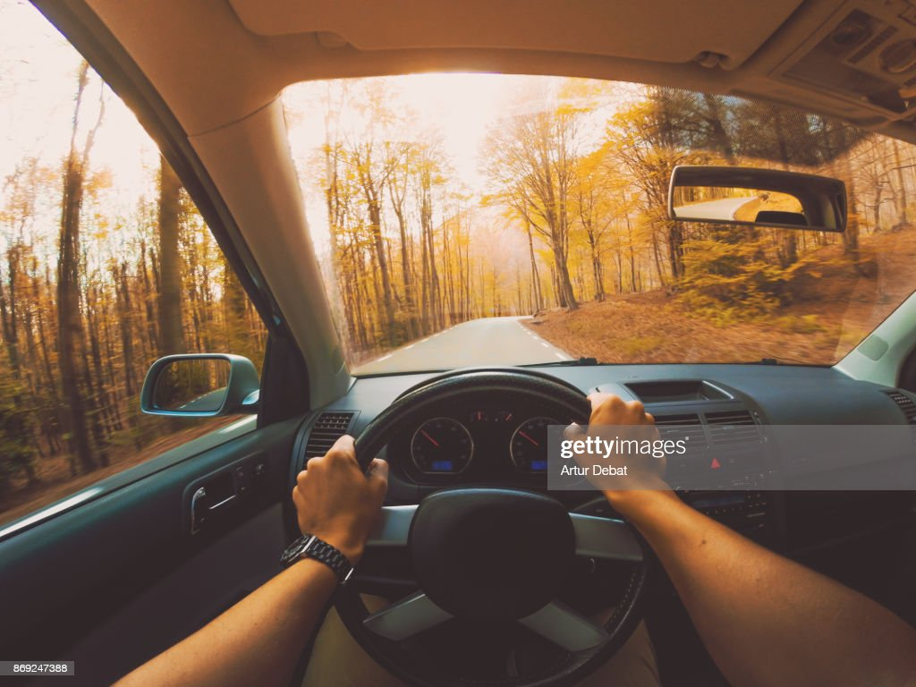 Guy driving car from personal perspective in a beautiful mountain road between forest with autumn colors in the Montseny nature reserve close to Barcelona city during day trip. : Photo