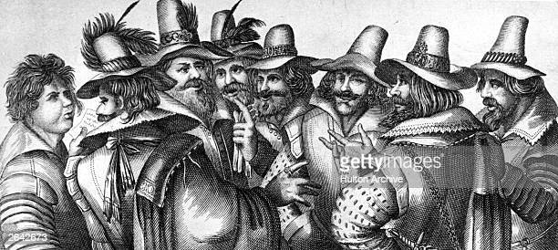 Guy Fawkes and fellow conspirators planning the gunpowder plot to blow up the Houses of Parliament circa 1605