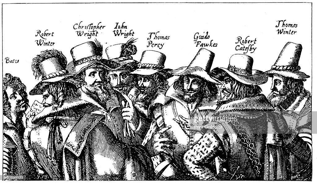 Guy Fawkes and the Gunpowder Plotters, 1605. Roman Catholic conspiracy to blow up English Houses of Parliament on 5 November 1605 when James I due to open new session. Guy Fawkes, best known of the conspirators, is third from right. From print published Frankfurt 1605.