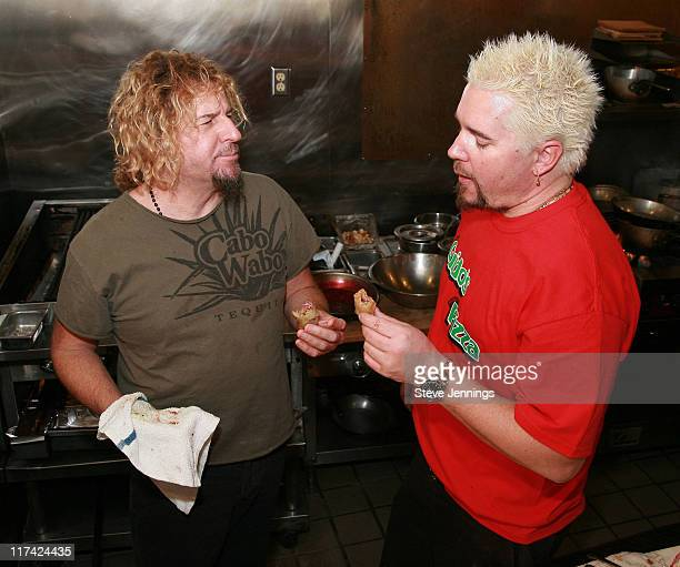 Guy Fieri and Sammy Hagar in the kitchen cooking up food with Cabo Wabo tequila