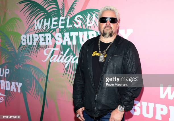 Guy Fieri at Wheels Up members-only Super Saturday Tailgate event on February 1, 2020 in Wynwood, Miami. The seventh-annual event featured a chalk...