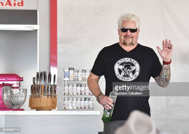 Guy Fieri gives a cooking demonstration at Goya Foods' Grand Tasting Village Featuring Mastercard Grand Tasting Tents KitchenAid Culinary...